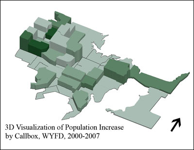 3D Extrusion of Population Increase